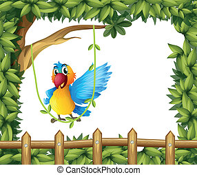 A parrot swinging the vine plant