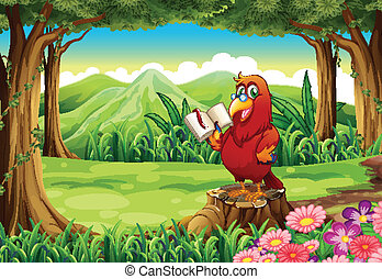 A parrot with a book standing above the stump