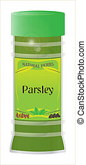 Parsley - A 'Parsley' herb and spice jar isolated on a white...