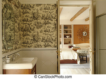A part of bathroom and bedroom