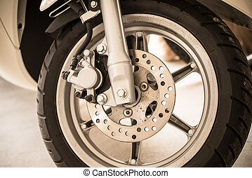 a part of motorbike. - Close up a part of motorbike in...