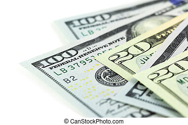 A part of US dollars on white background