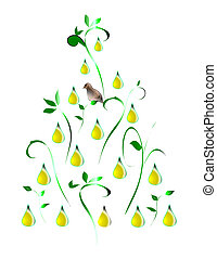 A Partridge in a Pear Tree - Stylized illustration of a...