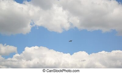 A passenger airplane flying through the sky