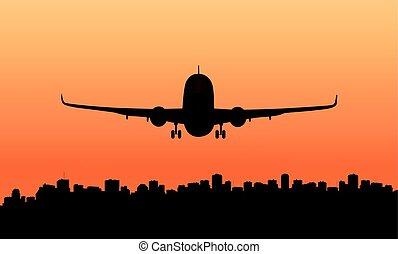 A passenger plane and a big city..eps