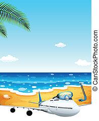A passenger plane at the beach
