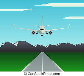 A passenger plane is landing