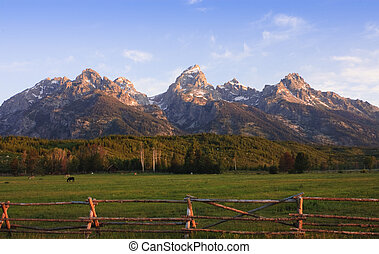 a pastoral scene on a ranch at the base of the Tetons