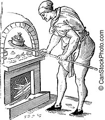 A pastry chef in 1589, vintage engraving.