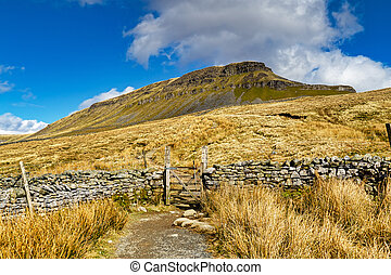 A path leading to Peny Ghent, in the Yorkshire Dales, with a gate in a dry stone wall.