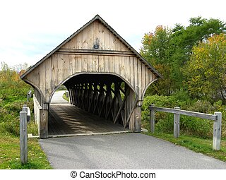 covered bridge  - a pathway covered bridge in bethel maine
