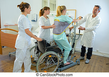 a patient doing physical therapy