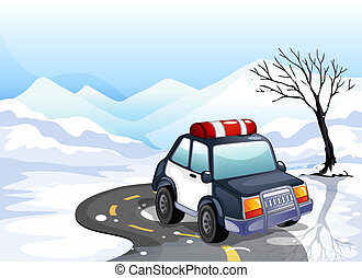 A patrol car in the snowy land