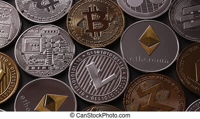 Different Coins Of Crypto Currency On A Dark Background Slow Motion 1080p Full Hd Video Coins Of Crypto Currency On A Dark Canstock