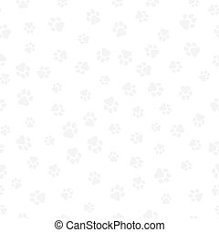 A pattern of canine tracks of different sizes. Traces of a light gray dog on a white background. Vector illustration in a flat style