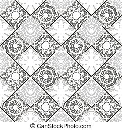 A pattern of circles and squares in contrasting colors. Black and white seamless geometric pattern