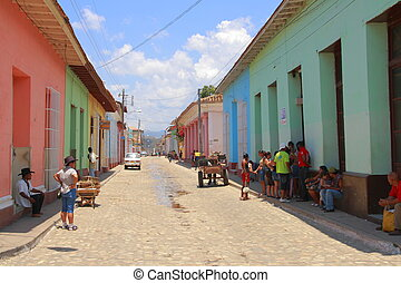 A paved street in Trinidad, Cuba