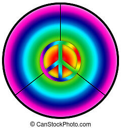 peace - A peace symbol in a circle and in rainbow colors