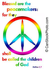 peace - A peace symbol with a Bible verse in rainbow colors