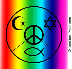 peace - A peace symbol with symbols of Judaism, Islam and...