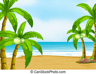 A peaceful beach - Illustration of a peaceful beach