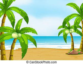 A peaceful beach - Illustration of a peaceful beach