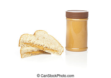 A peanut butter sandwhich against a white background