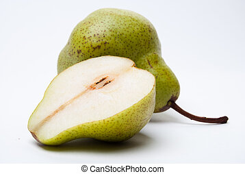 A pear with a slice isolated on white background