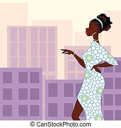 a peau noire, ville, femme