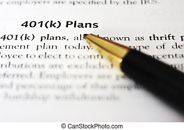 "401(k)  - A pen draws attention to the words ""401(k) Plans"""