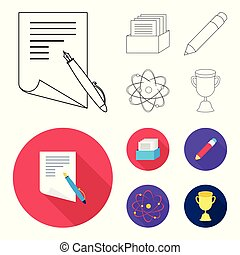 A pen with paper, a catalog in a box, a red pencil, an atom with a core. School set collection icons in outline,flat style vector symbol stock illustration web.