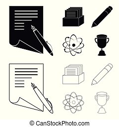 A pen with paper, a catalog in a box, a red pencil, an atom with a core. School set collection icons in black,outline style vector symbol stock illustration web.