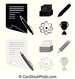 A pen with paper, a catalog in a box, a red pencil, an atom with a core. School set collection icons in black,monochrome style vector symbol stock illustration web.