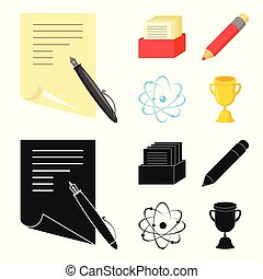 A pen with paper, a catalog in a box, a red pencil, an atom with a core. School set collection icons in cartoon,black style vector symbol stock illustration web.
