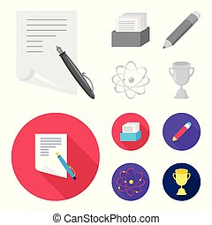 A pen with paper, a catalog in a box, a red pencil, an atom with a core. School set collection icons in monochrome,flat style vector symbol stock illustration web.