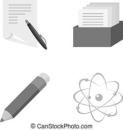 A pen with paper, a catalog in a box, a red pencil, an atom with a core. School set collection icons in monochrome style vector symbol stock illustration web.