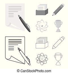 A pen with paper, a catalog in a box, a red pencil, an atom with a core. School set collection icons in outline,monochrome style vector symbol stock illustration web.