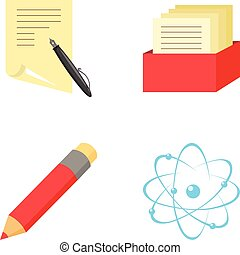 A pen with paper, a catalog in a box, a red pencil, an atom with a core. School set collection icons in cartoon style vector symbol stock illustration web.