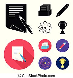 A pen with paper, a catalog in a box, a red pencil, an atom with a core. School set collection icons in black, flat style vector symbol stock illustration web.
