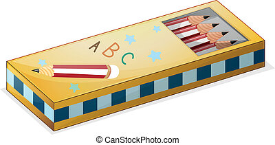 A pencil case - Illustration of a pencil case on a white...