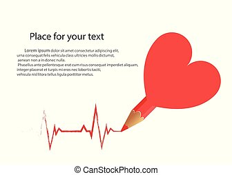 A pencil from the heart draws a cardiogram on an isolated light background. Vector with space for text. Pulse is a medical drawing of a good heart work or the concept of a loving couple.