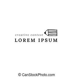 A pencil tip, vector horizontal premade logo template....
