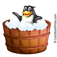 A penguin at the bathtub