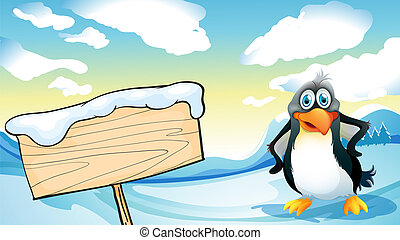 A penguin beside the empty wooden signboard