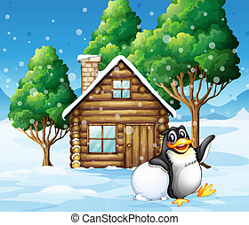 A penguin in front of the wooden house