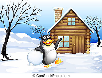 A penguin outside the house