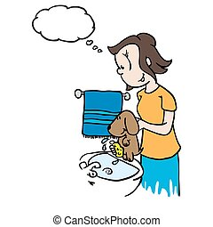 a pensé bulle, lavage, chien, maman