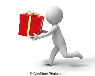 gift box - a people is running with a gift box