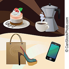 vector illustration of a cake, cup of coffee, coffemaker, shoes with a shopping bag and a smartphone