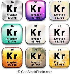 Periodic table element krypton icon periodic table element krypton a periodic table showing krypton on a white background urtaz Choice Image